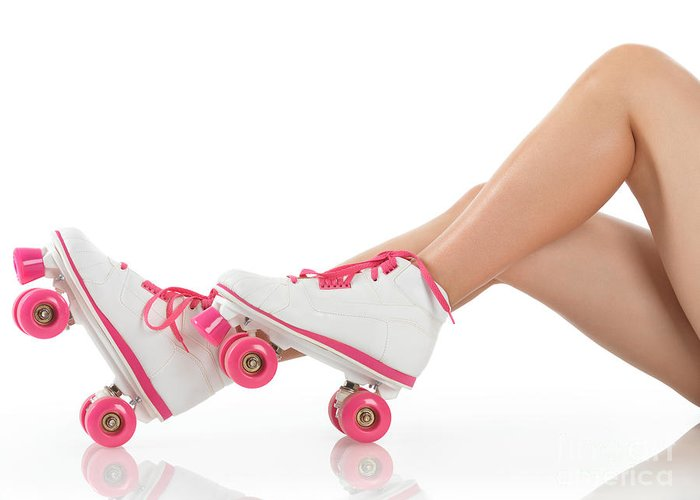 Roller Skates Greeting Card featuring the photograph Young Woman Wearing Roller Derby Skates by Oleksiy Maksymenko