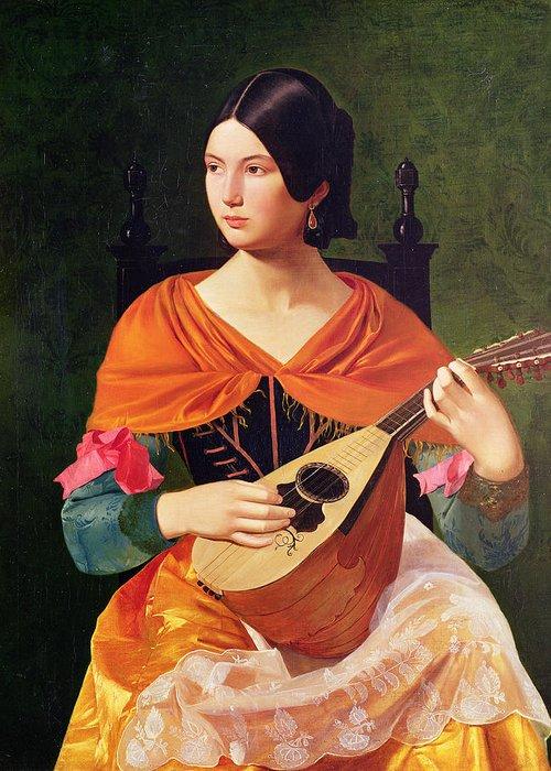 Young Woman With A Mandolin Greeting Card featuring the painting Young Woman With A Mandolin by Vekoslav Karas