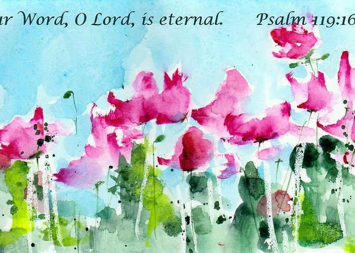 Scriptural Greeting Card Greeting Card featuring the painting Your Word O Lord by Anne Duke