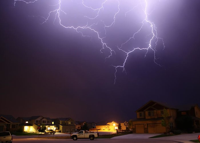 Lightning Greeting Card featuring the photograph ZAP by Shane Bechler