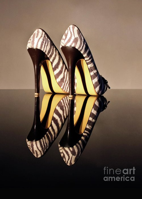 Zebra Print Shoes Greeting Card featuring the photograph Zebra Print Stiletto by Terri Waters
