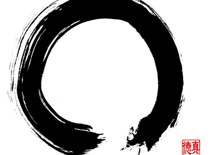 Enso Greeting Card featuring the painting Zen Circle Five by Peter Cutler