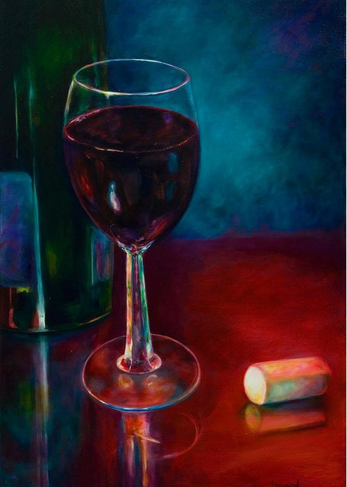 Wine Bottle Greeting Card featuring the painting Zinfandel by Shannon Grissom
