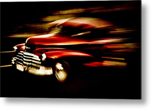 Custom Chevrolet Metal Print featuring the photograph 1947 Red Chevrolet by Phil 'motography' Clark