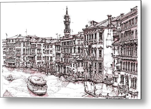 Venice Metal Print featuring the drawing Venice In Pen And Ink by Adendorff Design