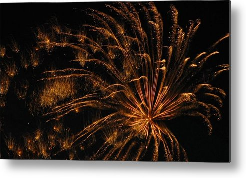 Fireworks Metal Print featuring the photograph Fiery by Rhonda Barrett
