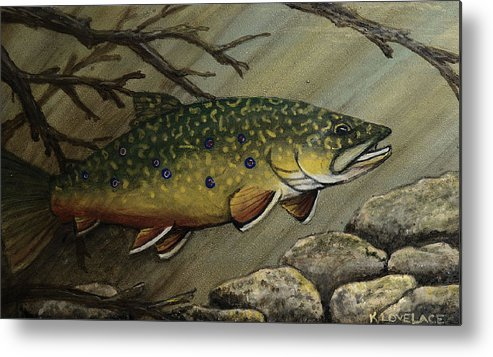 Fish Metal Print featuring the painting October Glory by Kathy Lovelace