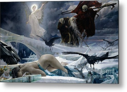 Ahasuerus Metal Print featuring the painting Ahasuerus At The End Of The World by Adolph Hiremy Hirschl