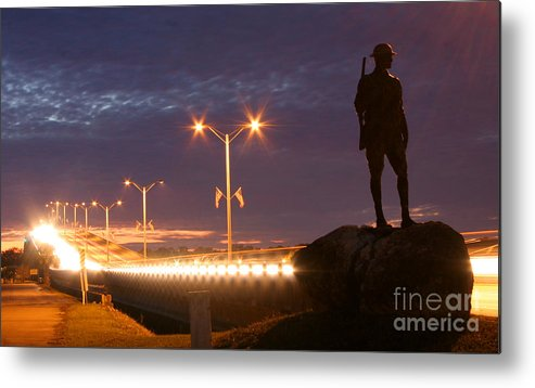 Palatka Metal Print featuring the photograph Palatka Memorial Bridge Doughboy by Angie Bechanan