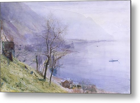 Switzerland Metal Print featuring the drawing Above Montreux by John William Inchbold