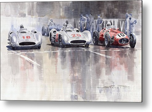 Watercolour Metal Print featuring the painting French Gp 1954 Mb W 196 Meserati 250 F by Yuriy Shevchuk