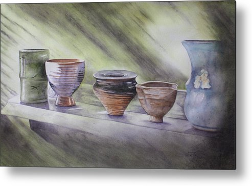 Hand Thrown Pottery Metal Print featuring the painting Hand Thrown by Patsy Sharpe
