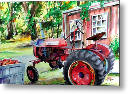 Hawk Hill Metal Print featuring the painting Hawk Hill Apple Tractor by Scott Nelson