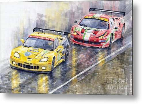 Watercolor Metal Print featuring the painting Le Mans 2011 Gte Pro Chevrolette Corvette C6r Vs Ferrari 458 Italia by Yuriy Shevchuk