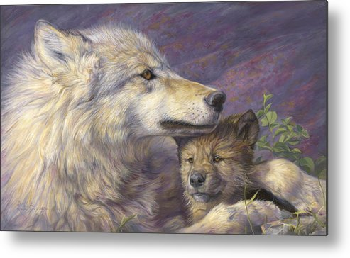 Wolf Metal Print featuring the painting Mother's Love by Lucie Bilodeau