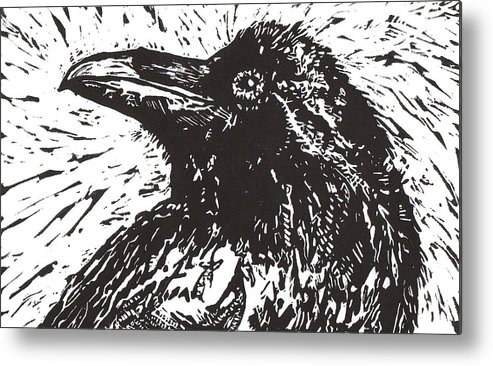 Linocut Metal Print featuring the mixed media Raven by Julia Forsyth