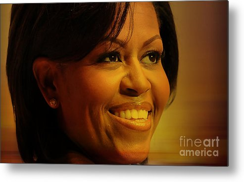 Michelle Obama Photographs Metal Print featuring the mixed media Michelle Obama by Marvin Blaine