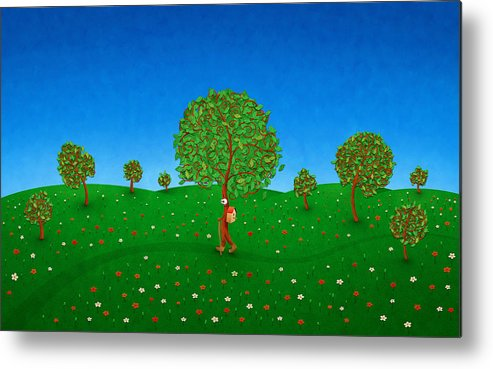 Abstract Metal Print featuring the drawing Happy Walking Tree by Gianfranco Weiss