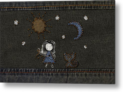 Abstract Metal Print featuring the drawing Jeans Stitches by Gianfranco Weiss