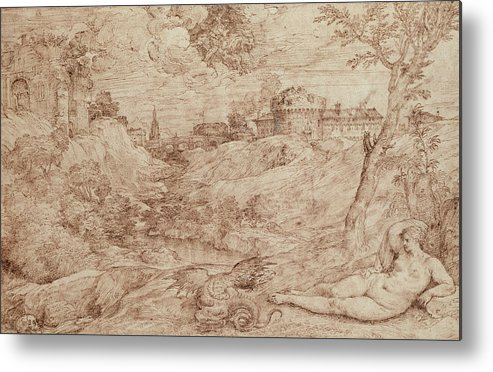 Landscape With A Dragon And A Nude Woman Sleeping Metal Print featuring the drawing Landscape With A Dragon And A Nude Woman Sleeping by Titian