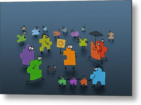 Abstract Metal Print featuring the drawing Puzzle Family by Gianfranco Weiss
