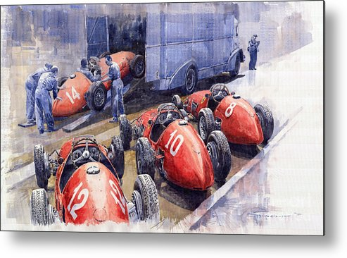Watercolour Metal Print featuring the painting Team Ferrari 500 F2 1952 French Gp by Yuriy Shevchuk