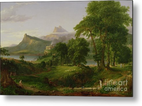 Thomas Metal Print featuring the painting The Course Of Empire  The Arcadian Or Pastoral State by Thomas Cole