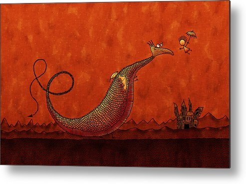 Abstract Metal Print featuring the drawing The Friendly Dragon by Gianfranco Weiss