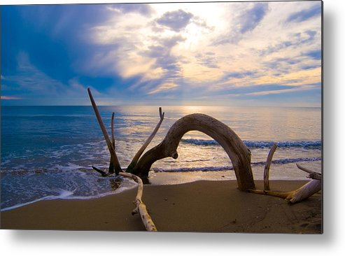 Driftwood Sea Mediterranean Sunset Sky Cloud Water Calm Serenity Metal Print featuring the photograph The Wooden Arch by Marco Busoni
