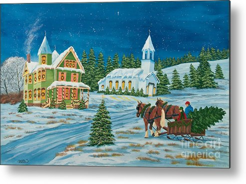 Winter Scene Paintings Metal Print featuring the painting Country Christmas by Charlotte Blanchard