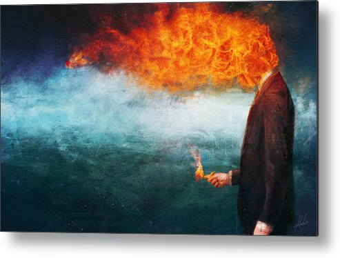 Fire Metal Print featuring the painting Deep by Mario Sanchez Nevado