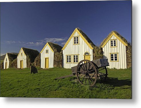 Home Metal Print featuring the photograph Icelandic Turf Houses by Claudio Bacinello