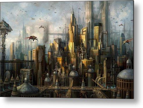 Philip Straub Metal Print featuring the painting Metropolis by Philip Straub