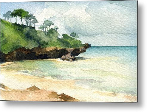 Landscape Metal Print featuring the painting Mombasa Beach by Stephanie Aarons