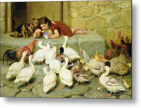 The Metal Print featuring the painting The Last Spoonful by Briton Riviere