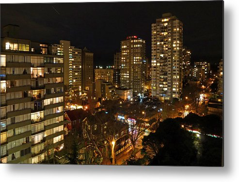 Night Metal Print featuring the photograph Vancouver Skyline by Nancy Harrison