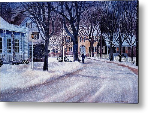 Winter Metal Print featuring the painting Winter Stroll by Karol Wyckoff