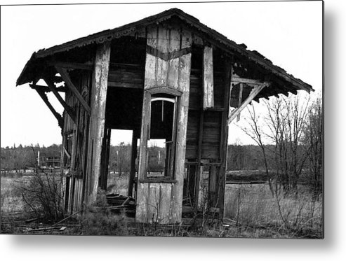 Black And White Metal Print featuring the pyrography Ye Ol' Train Station by Sandy Poore