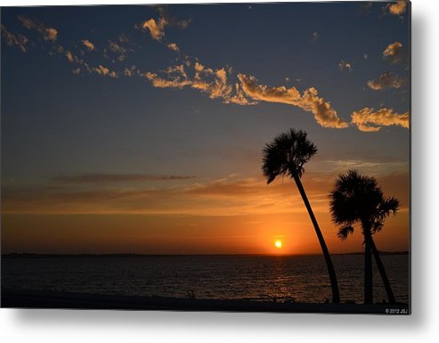 20120502 Metal Print featuring the photograph 0502 Palms With Sunrise Colors On Santa Rosa Sound by Jeff at JSJ Photography