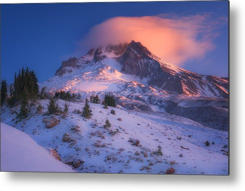 Mount Hood Metal Print featuring the photograph Fire Cap by Darren White
