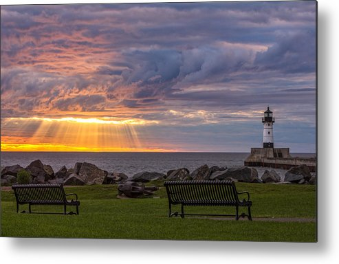 front Row Seats lake Superior canal Park canal Park Lighthouse duluth north Shore Sunrise Dawn Rays god Rays Clouds Benches Lighthouse great Lake Sunset Sunrays Magic Nature Summer perfect Duluth Day mary Amerman Metal Print featuring the photograph Front Row Seats by Mary Amerman