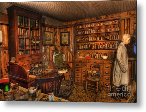 Alchemist Metal Print featuring the photograph Old Time Pharmacy - Pharmacists - Druggists - Chemists  by Lee Dos Santos