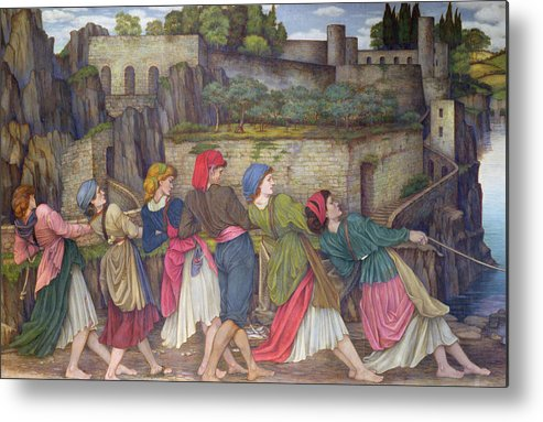 William Metal Print featuring the painting The Women Of Sorrento by John Roddam Spencer Stanhope