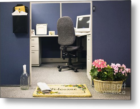 Blue Metal Print featuring the photograph Office Cubicle by Andersen Ross