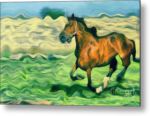 Odon Metal Print featuring the painting The Running Horse by Odon Czintos