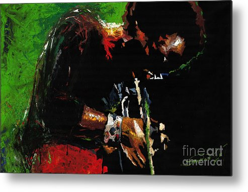 Jazz Metal Print featuring the painting Jazz Miles Davis 1 by Yuriy Shevchuk