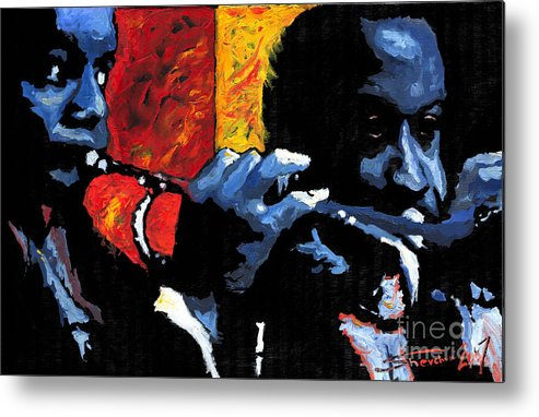 Jazz Metal Print featuring the painting Jazz Trumpeters by Yuriy Shevchuk