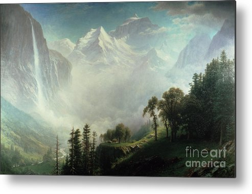 Majesty Metal Print featuring the painting Majesty Of The Mountains by Albert Bierstadt