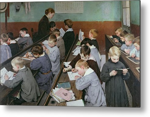 The Metal Print featuring the painting The Children's Class by Henri Jules Jean Geoffroy
