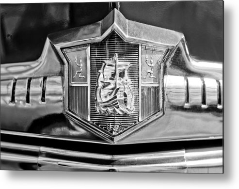 1949 Plymouth P-18 Special Deluxe Convertible Emblem Metal Print featuring the photograph 1949 Plymouth P-18 Special Deluxe Convertible Emblem by Jill Reger